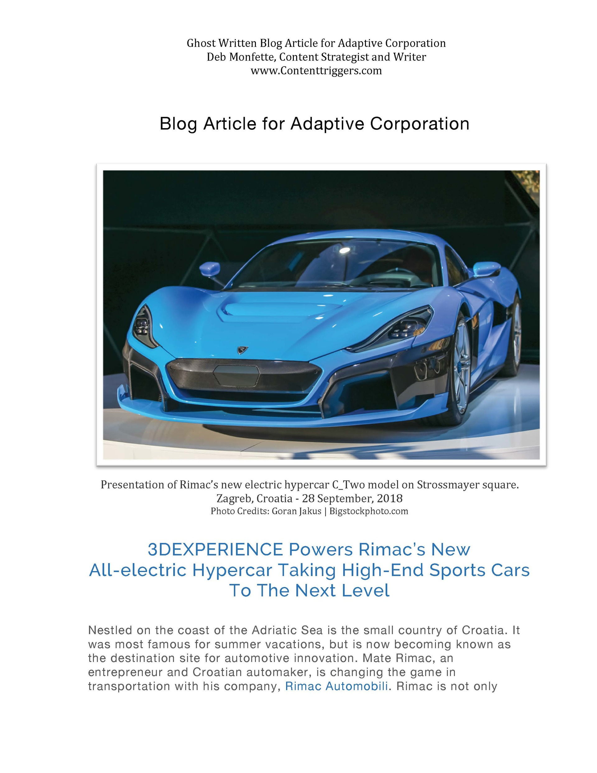 Rimac's New All-Electric Hypercar in Blue