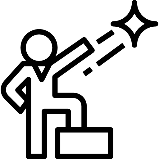 Outline of a person standing on a podium reaching for a star