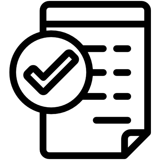 White paper plan with a checkmark