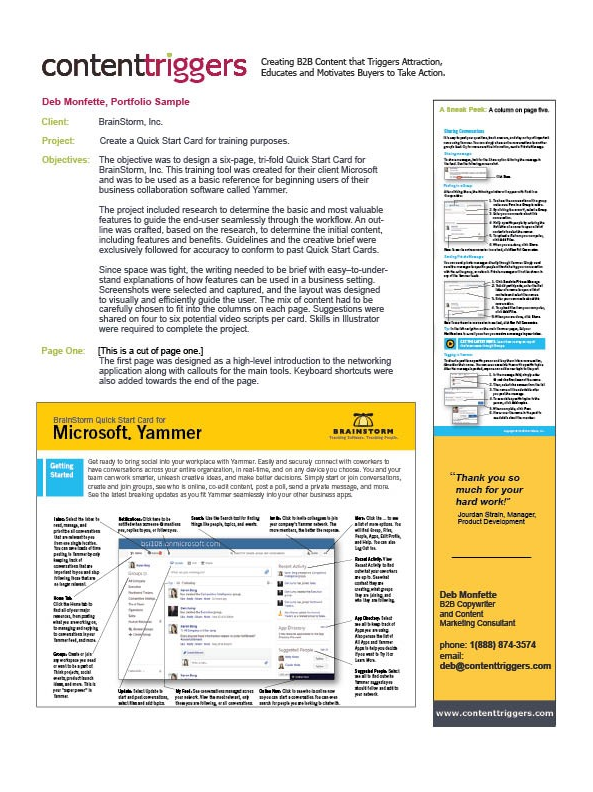 Sample of a Quick Start Card using features of MS Yammer