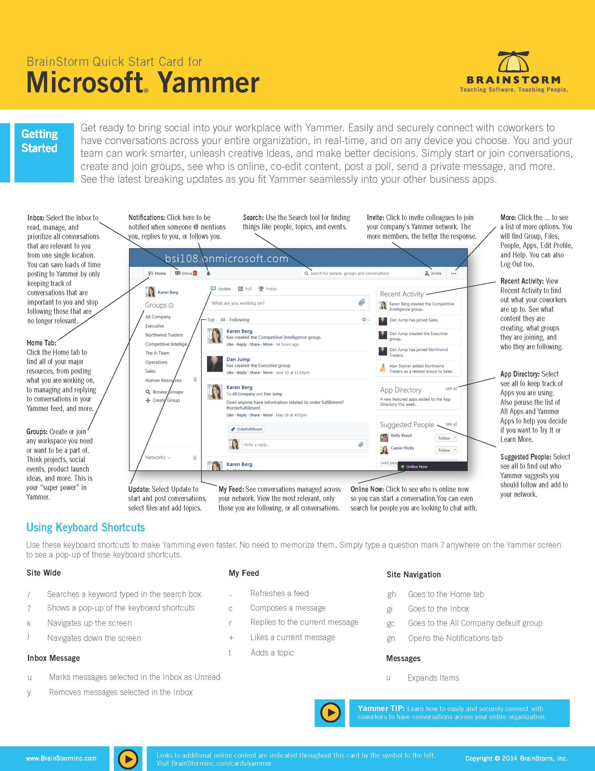 Quick start card of features and process of MS Yammer