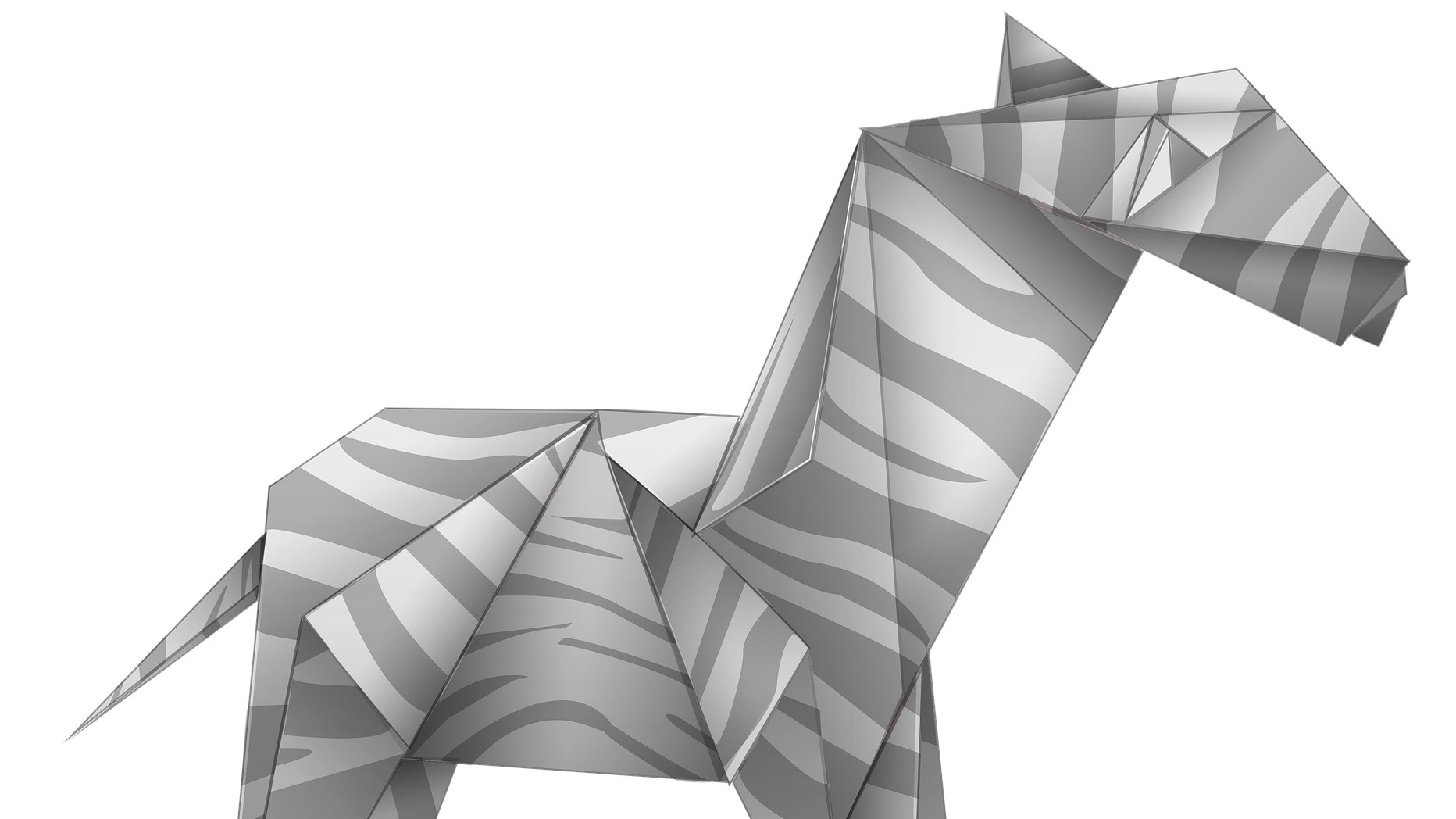Black and White Origami horse