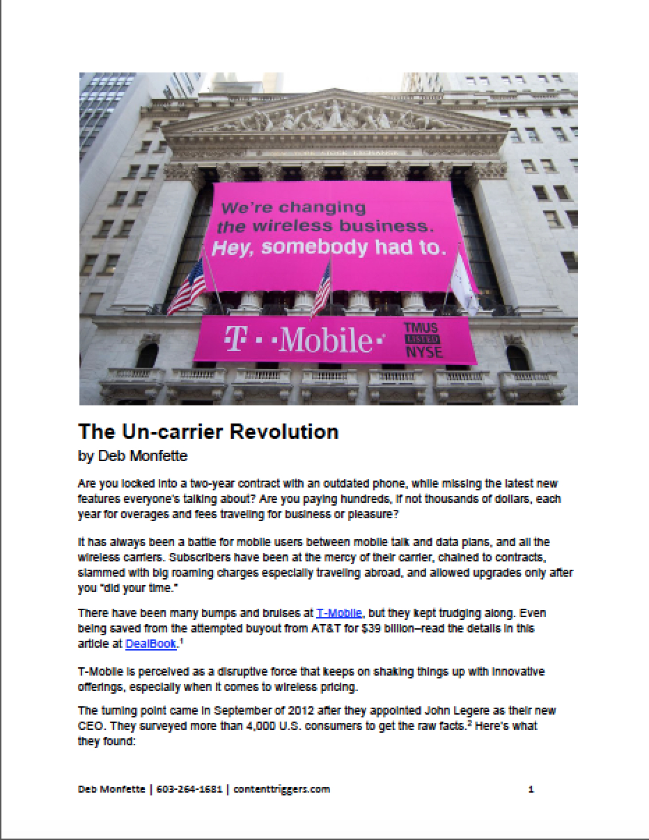 Article on T-Mobile and the Un-carrier Revolution